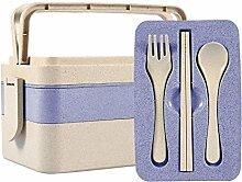 Nixikoo Vesperdose / Brotdose / Bento Box / Frühstücksbox / Lunchbox / Snackbox / Vesperbox mit Eßgeräte für Kinder, Office Lady (3 Layer, Blau)