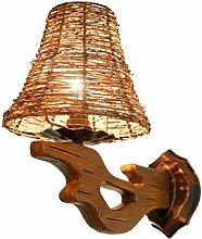NJ Wandlampe- Vintage Holz Wandleuchte Wohnzimmer