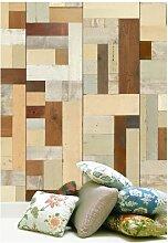 NLXL Tapete in Holz-Optik von Piet Hein Eek, Faserstoff, Beige/Cremefarben/Braun/Hellgrün, 1Rolle (900x48,7cm)