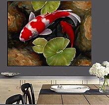 NLZNKZJ Druck Chinesischen Koi Fisch Lotus Feng