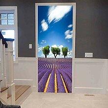 no-brand 3D Türtapete-Lavendelfeld-3D Fototapete