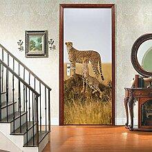 no-brand 3D Türtapete-Leopardenfamilie-3D