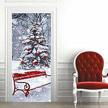 no-brand 3D Türtapete-Weihnachtsbaumliege-3D