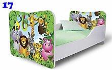 Nobiko Babybett Kinderbett Bett Schlafzimmer Kindermöbel Spielbett Butterfly 160x80 or 140x70 Matratze Lattenrost (140x70, 17)