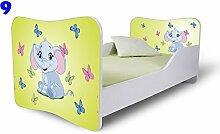 Nobiko Babybett Kinderbett Bett Schlafzimmer Kindermöbel Spielbett Butterfly 160x80 or 140x70 Matratze Lattenrost (160x80, 9)