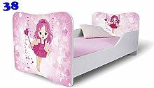 Nobiko Babybett Kinderbett Bett Schlafzimmer Kindermöbel Spielbett Butterfly 160x80 or 140x70 Matratze Lattenrost (160x80, 38)