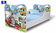Nobiko Babybett Kinderbett Bett Schlafzimmer Kindermöbel Spielbett Butterfly 160x80 or 140x70 Matratze Lattenrost (160x80, 52)