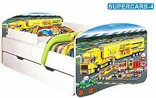 Nobiko Babybett Kinderbett Bett Schlafzimmer Kindermöbel Spielbett Banbao Smallrainbow 160x80 or 140x70 Matratze Lattenrost Schublade (160x80, supercars-4)
