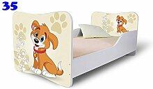 Nobiko Babybett Kinderbett Bett Schlafzimmer Kindermöbel Spielbett Butterfly 160x80 or 140x70 Matratze Lattenrost (160x80, 35)