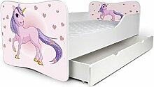 Nobiko Babybett Kinderbett Bett Schlafzimmer Kindermöbel Spielbett Butterfly 160x80 or 140x70 Matratze Lattenrost (160x80, 10)