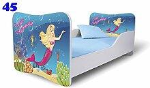 Nobiko Babybett Kinderbett Bett Schlafzimmer Kindermöbel Spielbett Butterfly 160x80 or 140x70 Matratze Lattenrost (140x70, 45)