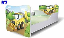 Nobiko Babybett Kinderbett Bett Schlafzimmer Kindermöbel Spielbett Butterfly 160x80 or 140x70 Matratze Lattenrost (140x70, 37)