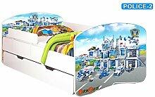 Nobiko Babybett Kinderbett Bett Schlafzimmer Kindermöbel Spielbett Banbao Smallrainbow 160x80 or 140x70 Matratze Lattenrost Schublade (160x80, police-2)