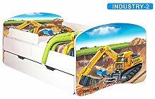 Nobiko Babybett Kinderbett Bett Schlafzimmer Kindermöbel Spielbett Banbao Smallrainbow 160x80 or 140x70 Matratze Lattenrost Schublade (160x80, industry-2)