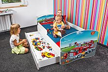 Nobiko Babybett Kinderbett Bett Schlafzimmer Kindermöbel Spielbett Banbao Smallrainbow 160x80 or 140x70 Matratze Lattenrost Schublade (160x80, fire-brigade-3)