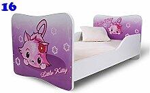 Nobiko Babybett Kinderbett Bett Schlafzimmer Kindermöbel Spielbett Butterfly 160x80 or 140x70 Matratze Lattenrost (160x80, 16)