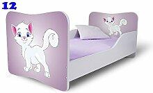 Nobiko Babybett Kinderbett Bett Schlafzimmer Kindermöbel Spielbett Butterfly 160x80 or 140x70 Matratze Lattenrost (160x80, 12)