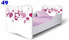 Nobiko Babybett Kinderbett Bett Schlafzimmer Kindermöbel Spielbett Butterfly 160x80 or 140x70 Matratze Lattenrost (140x70, 49)