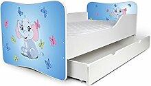 Nobiko Babybett Kinderbett Bett Schlafzimmer Kindermöbel Spielbett Butterfly 160x80 or 140x70 Matratze Lattenrost (140x70, 8)