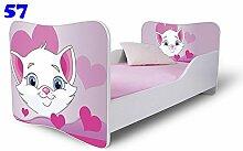 Nobiko Babybett Kinderbett Bett Schlafzimmer Kindermöbel Spielbett Butterfly 160x80 or 140x70 Matratze Lattenrost (140x70, 57)