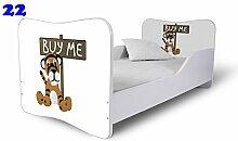 Nobiko Babybett Kinderbett Bett Schlafzimmer Kindermöbel Spielbett Butterfly 160x80 or 140x70 Matratze Lattenrost (140x70, 22)