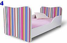 Nobiko Babybett Kinderbett Bett Schlafzimmer Kindermöbel Spielbett Butterfly 160x80 or 140x70 Matratze Lattenrost (140x70, 4)