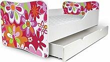 Nobiko Babybett Kinderbett Bett Schlafzimmer Kindermöbel Spielbett Butterfly 160x80 or 140x70 Matratze Lattenrost (160x80, 3)