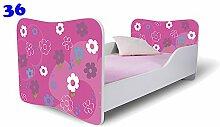 Nobiko Babybett Kinderbett Bett Schlafzimmer Kindermöbel Spielbett Butterfly 160x80 or 140x70 Matratze Lattenrost (160x80, 36)