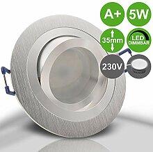 NOBLE 2 Alu Silber 5er Set 230V LED 5W dimmbar