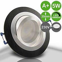 NOBLE S2 Schwarz 1er Set 230V LED 5W dimmbar