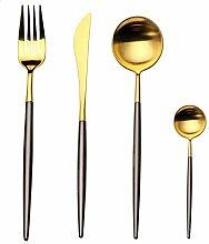NOBLJX 4Pcs Flatware Set Edelstahl Silber Cutlery