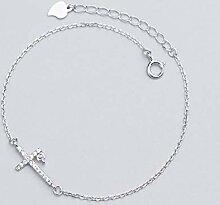 nobrand S925 Silber Armband Damen Diamant Kreuz