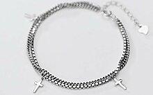 nobrand S925 Silber Kreuz Armband Lady Double
