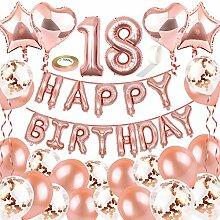 NOCHME Geburtstagsdeko Rosegold 18 für Mädchen,