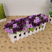 NOHOPE 30 Cm Holzzaun Emulation Blume Anzug Künstliche Blumen silk Blume Plastikblumen Wohnzimmer Dekoration mit floralen Ornamenten Muttertagsgeschenk