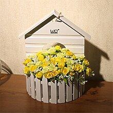 NOHOPE Haus Form Holzzaun Simulation Flower Set Wand Dekoration künstliche Blume Ornamente,D Muttertagsgeschenk