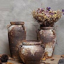 NOHOPE Retro Keramik Vasen Emulation Blumenkübel Home Dekoration Desktops grobe Keramik Blumentopf Ornamente,D