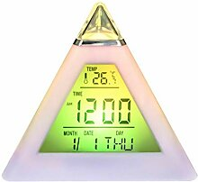 NOLOGO Digital 7 Farbe Bunter Pyramide LED Wecker,