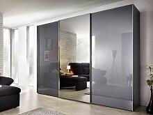 Nolte Evena Schwebetürenschrank Korpus in Dekor und Außentüren Glas Ausführung wählbar 1 mal Absetzung Grauspiegel