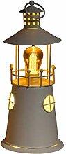 Noma Leuchtturm-Laterne aus Metall mit warmweißen