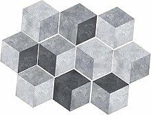 non-brand MagiDeal 10pcs Selbstklebende Hexagon Fliesenbilder Fliesensticker Dekosticker für Badezimmer Küche - Grau 2