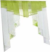 non-brand MagiDeal Landhausstil Fenster Tüll Vorhang Gardine Panel, Haus Dekoration - Grün 120Wx145H