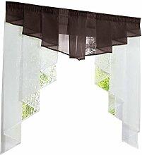 non-brand MagiDeal Landhausstil Fenster Tüll Vorhang Gardine Panel, Haus Dekoration - Kaffee 140Wx145H