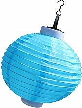 non-brand MagiDeal Solar Hängeleuchte, Solarleuchte Solarlampen Solar Aussenleuchte Solar Gartenleuchten Lampion Form - Blau, 25x33cm