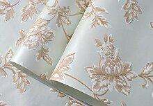 Non-Woven-High-End-europäischen Stil Garten Schlafzimmer Tapeten Hintergrund Das Wohnzimmer 3D-Tapete,Blue
