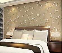 Non-Woven Stoffe Tapeten Schlafzimmer Tapete Wohnzimmer Tv Hintergrund 0,53 m * 10 m, Licht/Farbe
