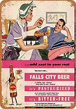 None Brand Falls City Beer Blechschild Retro Blech