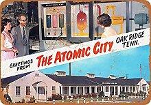 None Brand The Atomic City Blechschild Retro Blech