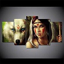 None brand Wandkunst Bild Wolf Indian Girl für