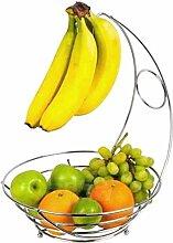 NONMON Bananenbaum, Obstkorb Verchromter Metall